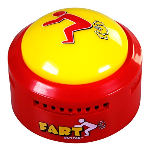 Fart Button - Play 20 Funny Poop Noise and Farting Sounds - Giant Yellow Sound-Maker Button Flashes and Lights Up - Hilarious Prank, Joke, and Gag Toy by Talkie Toys - Coolest Novelty Gift for Friends