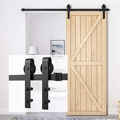 Homlux 6ft Heavy Duty Sturdy Sliding Barn Door Hardware Kit Single Door - Smoothly and Quietly -...