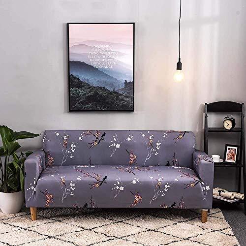 Lsqdwy Funda de sofá, diseño de Ciruela Blanca con Estampado Floral Funda de sofá elástica con Todo Incluido Funda Protectora de sofá Fundas de sofá para Muebles de Sala de Estar, Mascotas, sofá, 1