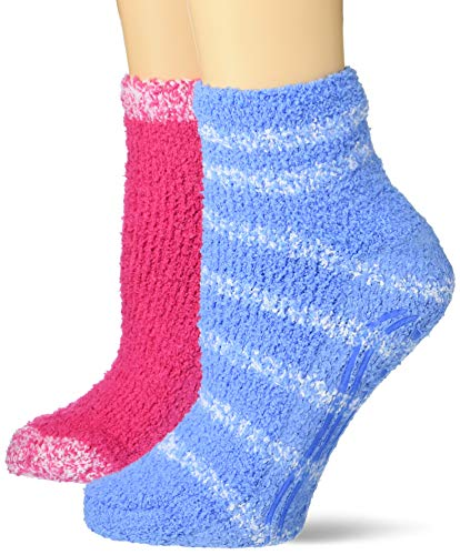 Dr. Scholl's Women's 2 Pack Soothing Spa Low Cut Lavender + Vitamin E Socks with Silicone Treads, Light Blue/White, Pink/White, Shoe Size: 4-10 (DSW22145L2UG001)