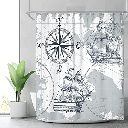 Riyidecor Nautical Sailboat Map Shower Curtain 72Wx72H Inch for Bathroom Ship Anchor Accessories for Boys Kids Sketch Pirate Ship Wheel Compass Bathtub Decor Fabric Polyester Waterproof
