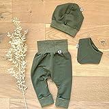 ANGEBOT Set - Hose, Mütze, Halstuch - Herbst French Terry Khaki (Khaki Melange) Baby Junge Mädchen Babykleidung