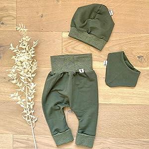 ANGEBOT Set – Hose, Mütze, Halstuch – Herbst French Terry Khaki (Khaki Melange) Baby Junge Mädchen Babykleidung