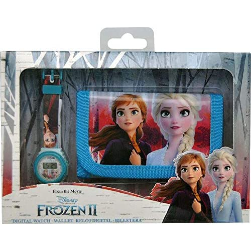 Disney Frozen - Set Orologio Digitale e Portafoglio in Scatola con 2 bracciali, Unisex, Multicolore, Unico