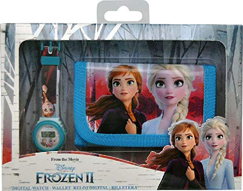 Frozen Set Reloj Digital y Billetera en Caja 2 Pulsera, Adultos Unisex, Multicolor, Unico