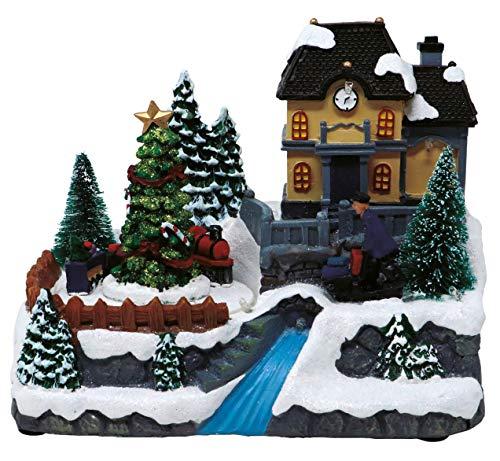 Weihnachtliche Weihnachtsdekoration mit Musik, beleuchtet im Winter-Wunderland, weihnachtliche Dekoration