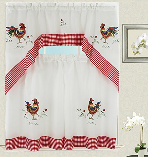 Venice Collections Rooster Kitchen Curtain with Swag and Tier Set 36 inch with Checkers Design