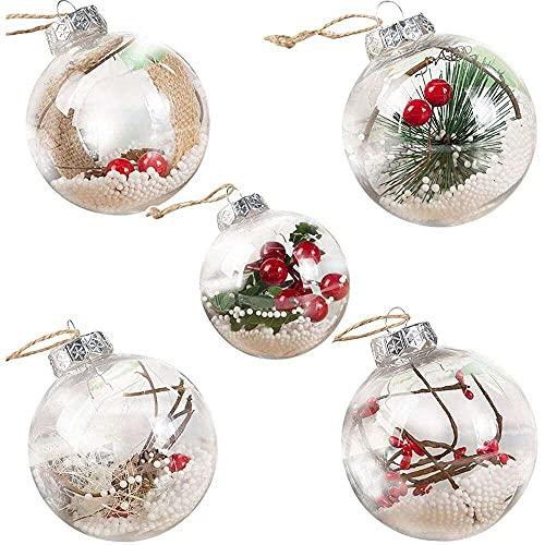 YuKeShop Bolas de Navidad transparentes de plástico transparente DIY colgante bola bolas adornos de Navidad decoraciones para el hogar decoración del árbol de Navidad