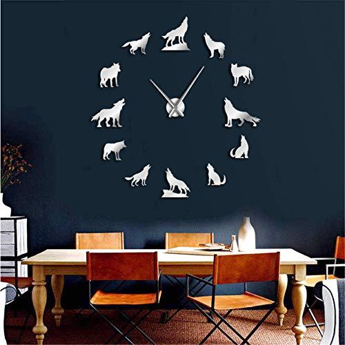 wangjingjing1 DIY wandklok DIY Grote Wandklok Verschillende Wolf Pose Frameless Wandhorloge Klok Home Decor Modern Design Wolf Admirers Gift(37inch)
