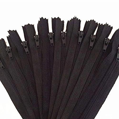 Cqinju-Cremalleras 10pcs 20 cm (8 Pulgadas) Negro Nylon Collippers Tailor Alcantarilla Crafter's & Amp, Robusto y Duradero (Length : 20cm, Size : 8 Inch)