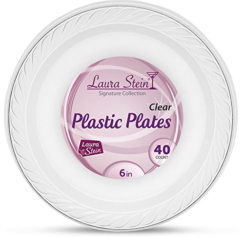 [120 Count -6 Inch Plates] Laura Stein Premium Heavy Weight Crystal Clear Disposable Plastic Dessert Size Plate, Great For Wedding, Event, Parties, Catering, Buffets, 3 Packs