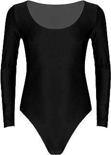 Agoky Mens Stretch Round Neck Long Sleeve Bodysuit Solid Color High Cut Undershirt Leotard