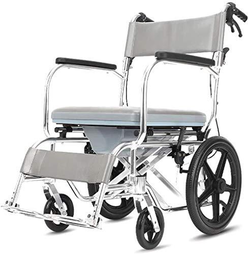 GUOZ Dusche Rollstuhl Transport Stuhl Commode, bewegliche Faltbare Bedside Commodes, Rollen mit blockierende Räder & herausnehmbare, gepolsterte Sitz,Hellgrau