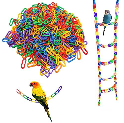 Plastic Hooks Chain Links,100pcs Parrot C-clips Hooks Chain Toy C-links Sugar Glider Rat Bird Toy Plastic (Multi)