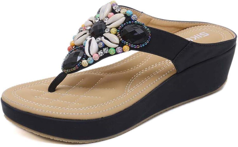 T-JULY Outdoor Women Sandals Gemstone Beaded Slippers Summer Beach Slipper Flip Flops Wedges Slides Sandals