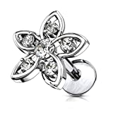 Forbidden Body Jewelry 16g Internally Threaded Surgical Steel CZ Flower Top Cartilage Stud - 6mm Clear