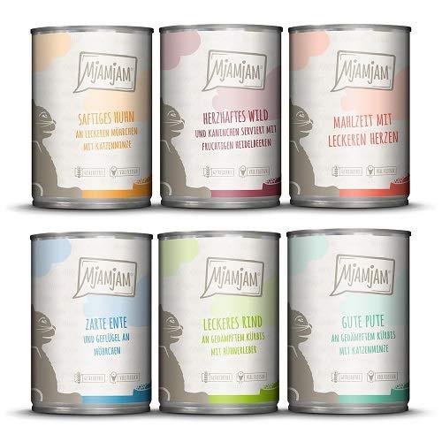 MjAMjAM - Premium Nassfutter für Katzen - Mixpaket II - Wild & Kaninchen, Pute, Ente & Geflügel, 1er Pack (6 x 400 g), getreidefrei mit extra viel Fleisch