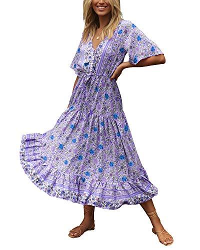 Style Dome Robe Longue Femme Boheme Robe ete Femme Robe de Plage Longue Maxi Florale Imprimée Bohème Grande Taille Chic Col V pour Vacance,Bleu,XL