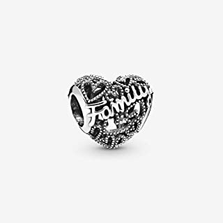 Family Heart 925 Sterling Silver Charm - 798571C00
