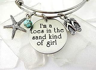 I'm A Toes In the Sand Kind of Girl Engraved Bangle Bracelet