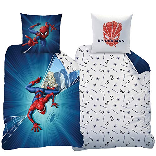 Spider-Man Kinder-Bettwäsche Far From Home 135 x 200cm + 80 x 80cm - 100% Baumwolle Linon / Renforcé Homecoming Spiderman Marvel Avengers Endgame Bettzeug Bettbezug deutsche Größe Reißverschluss