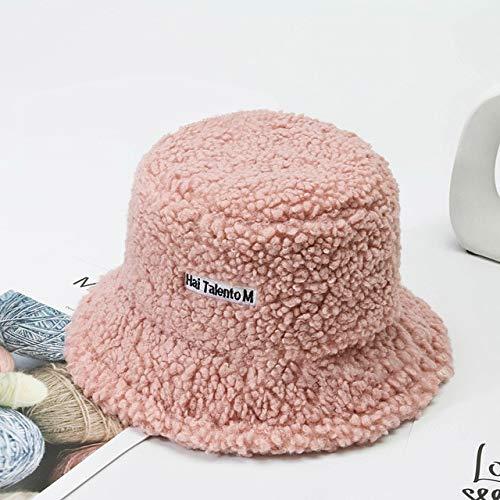 Sombrero de Mujer Sólido y cálido Gorra de Invierno Sombrero de Cubo para Mujer Protección Solar al Aire Libre Sombrero de señora Gorra-Type2 Pink