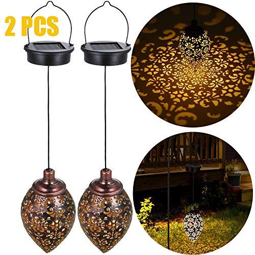 ALLOMN Solar Hängelampe, 2 Stck Draussen Sonnenlicht Gartendekoration Lampe Wasserdichtes hohles Lampenschirm Design mit Metallhaken Rasen Gartenlampen (Hohl Hängen, 2 PCS)