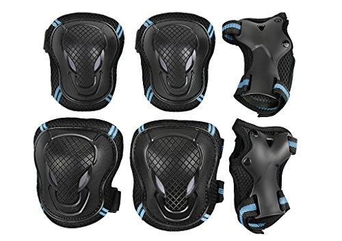 Adults Teens Kids Knee Elbow Wrist Pads Set Reflective Adjustable Collision Avoidance Skate Roller Blading Biking Knee Braces Support Elbow Pads Wrist Guards (Black&blue, L(For Adults 60-70Kg))