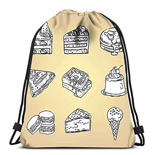 BOUIA Kordelzug Taschen Rucksack Doodle Bleistift Zeichnung von Kuchen Käsekuchen Waffel Pudding Macaron EIS Crêpe Pancake Pie Travel Gym Taschen