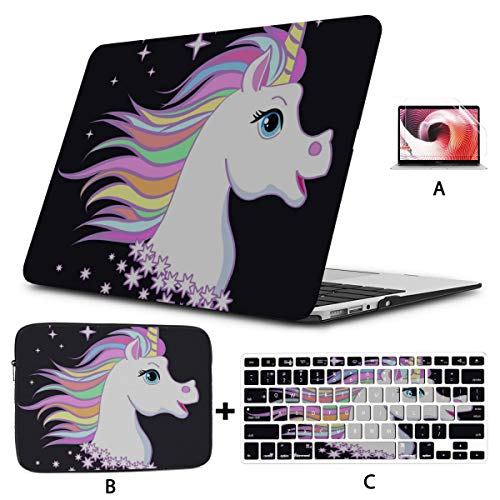 MacBook Air 2018 Case Sweet Cartoon Unicorn Child and Baby MacBook Laptop Cover Hard Shell Mac Air 11'/13' Pro 13'/15'/16' with Notebook Sleeve Bag for MacBook 2008-2020 Version