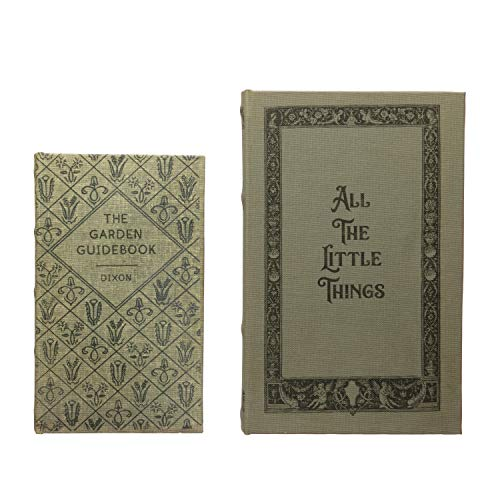 Creative Co-Op MDF & Canvas Book, Set of 2 All The Little Things Storage Box, Natural, 2