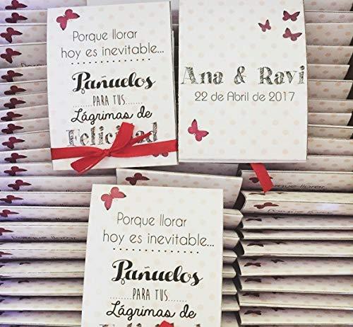 Lágrimas de Felicidad para Bodas con pañuelo de papel lunares granat