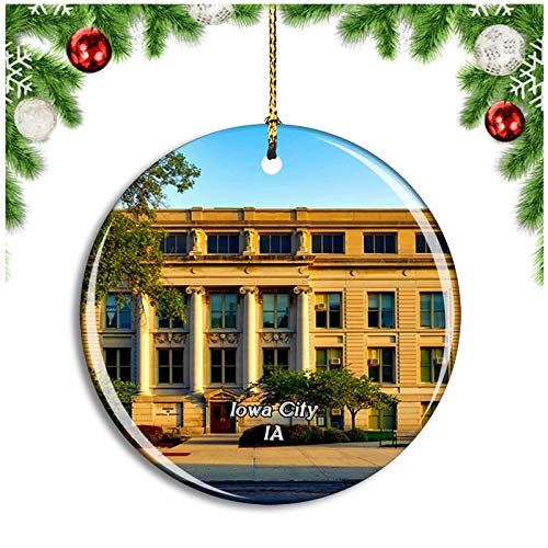 Weekino Iowa City University Of Iowa USA Christmas Ornament Xmas Tree Decoration Hanging Pendant Travel Souvenir Collection Double Sided Porcelain 2.85 Inch