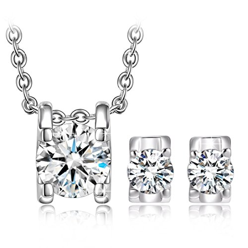 QIANSE Jewelry Set Gifts for Her for Women White Gold Plated Necklaces Bracelets Earrings Set Christmas Birthday Gifts for Girlfriend Wife Jewelry Graduation Gifts for Daughter