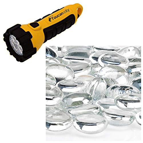 Toucan City LED Flashlight and American Fire Glass Glacier Ice Firebeads 10 lbs. Bag FB-GLA-10