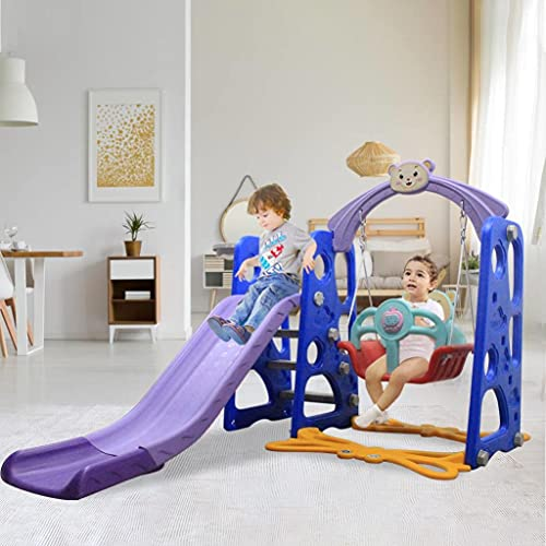 LUGUO 3-in-1 Children Slides Toddler Climber and Swing Set, Unisex Kids Play Slide for Children Aged 3-9, Easy-to-Climb Steps, Sturdy Slide for Indoor Outdoor Garden Playground Backyard