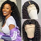 UNice 13x6 Deep Wave Lace Front Human Hair Wigs, Brazilian Unprocessed Virgin Human Hair Deep Part Lace Frontal Wig 150% Density Pre Plucked with Baby Hair Natural Color (18 Inch)