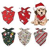 Heqishun Bandanas de Perro, 5 Piezas Pañuelo Bufanda de Mascota Navidad, Pañuelos de Navidad para Perro Baberos Lavables de Perros para Perros y Gatos (5 Estilos)