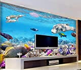 ZZXIAO Papel pintado 3D Wallrooms Acuario Tropical Fish World Murales submarinos 3D Decorativo Decoración Fotomural sala Pared Pintado Papel tapiz no tejido-300cm×210cm