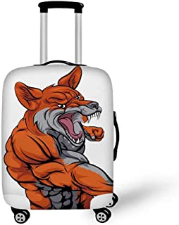 Fox Stylish Luggage Cover,Muscular Fierce Fox Character Fighting Sports Animal Mascot Punching Monster Decorative for Luggage,L(26.3''W x 30.7''H)