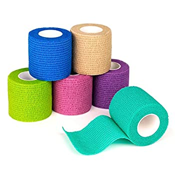 FriCARE Nonwoven Self-Adhesive Bandage Self-Adherent Cohesive First Aid Medical Wrap Elastic Athletic/Vet Tape for Wrist 2 Inches Wide  Rainbow 6 Pack