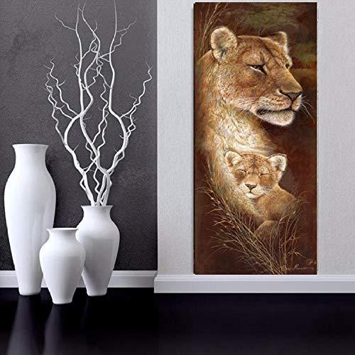 mmzki Gemälde rot Elefant Leinwand Malerei Plakate und Drucke Kunstdruck Naturbild abstrakt Afrika Tier Wandmalerei Kinderzimmer Dekoration 30x90cm