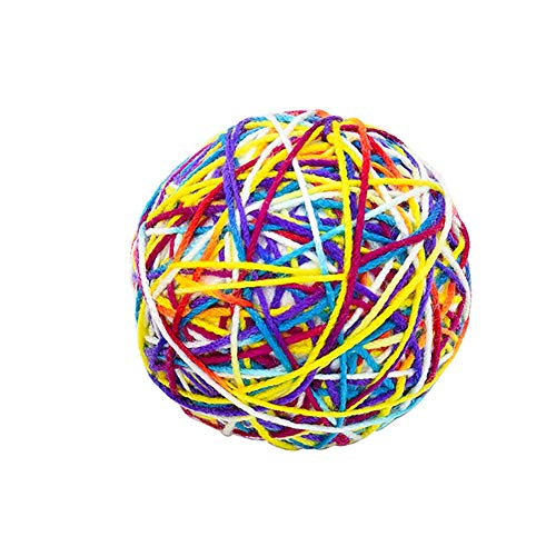 Moligin Pet Wool Ball Felt Bulk Pompoms Fun Adorable Colorful Soft Quiet Felted Fabric Balls with Bells for Cat Lover Craft Supplies 1pc