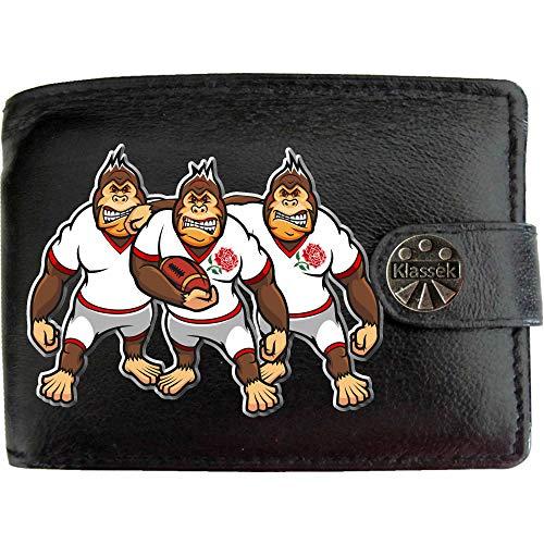 England Rugby Gorilla Englische Rose Karikatur Shirt Bild auf KLASSEK Marken Herren Geldbörse Portemonnaie Echtes Leder RFID Schutz mit Münzfach Zubehör Geschenk mit Metall Box