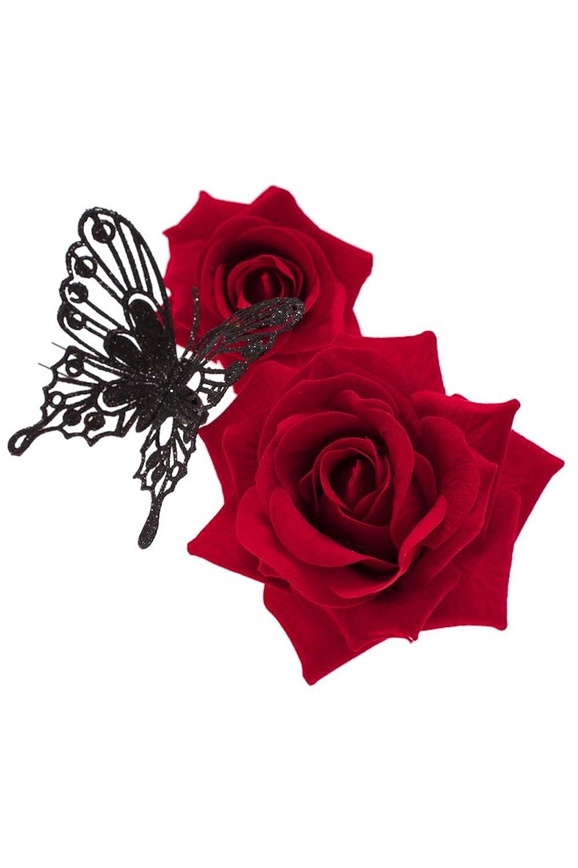 (ソウビエン) 髪飾り 3点セット 薔薇 蝶 コサージュ 成人式 振袖向き 卒業式