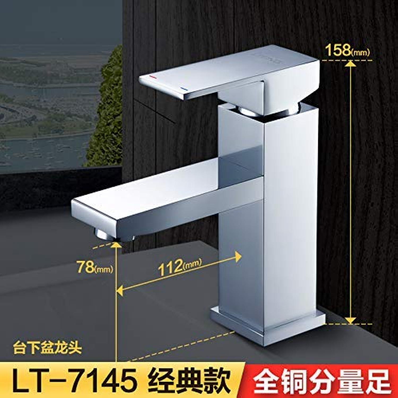 Oudan All Copper Cold Counter Basin Faucet Hole Lavatory Faucet Body Square Lt-7145,7146 (color   7145, Size   -)