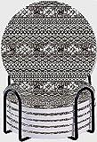 GUVICINIR Juego de 6 Posavasos de cerámica Absorbente con Base de Corcho,Azteca Abstracto diseño Americano Frontera patrón Tribal Oriental Blanco Vintage zig Zag Negro méxico India