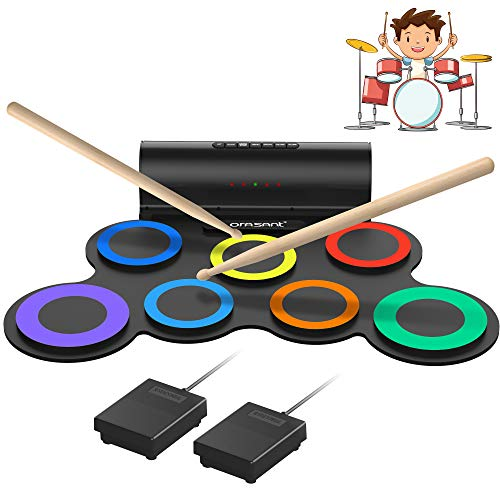 ORASANT Real-Effect Rechargeable Portable Electronic Drum Set, Multi-Functional Electric Drum Set, Drum Practice Pad with Foot Pedals Sticks Built-in Speaker Headphone Jack 10H Playtime,Christmas Gift