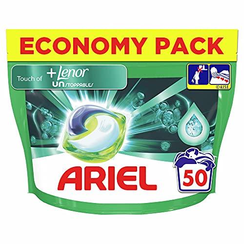 Ariel Allin1 vloeibaar wasmiddel in capsules + Lenor onverstopbaar wasmiddel in capsules, lage temperatuur en langdurige geur, 50 wasbeurten