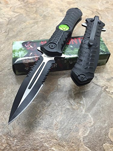 Z-Hunter Assisted Opening Outdoor Hunting Tactical Rescue Pocket Apocalypse Zombie w/Biohazard Logo Design Knife - Black